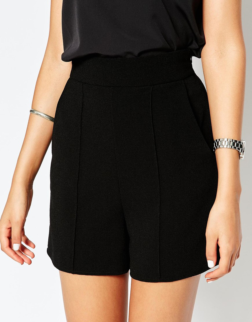 Asos Tall High Waist Tailored Shorts in Black   Lyst