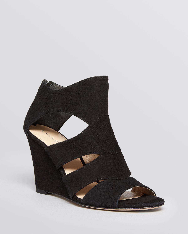 via spiga open toe wedge sandals fion in black lyst