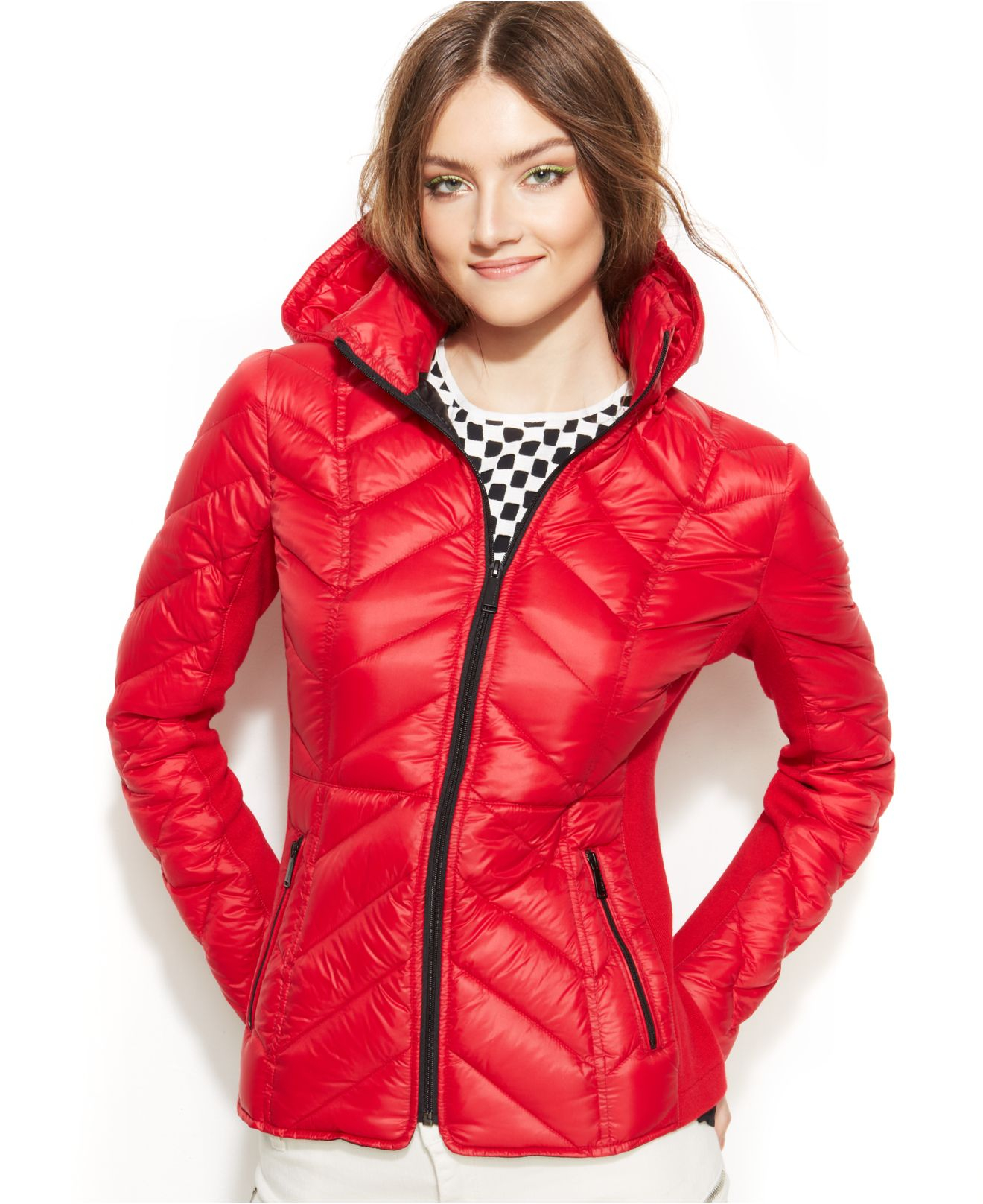 Lyst Bcbgeneration Packable Chevron Quilted Down Puffer