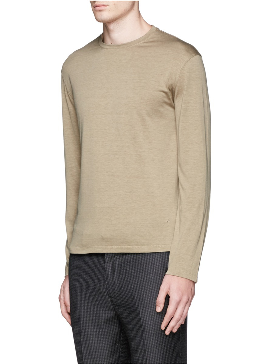 Isaia silk cotton long sleeve t shirt in blue for men lyst for Cotton silk tee shirts
