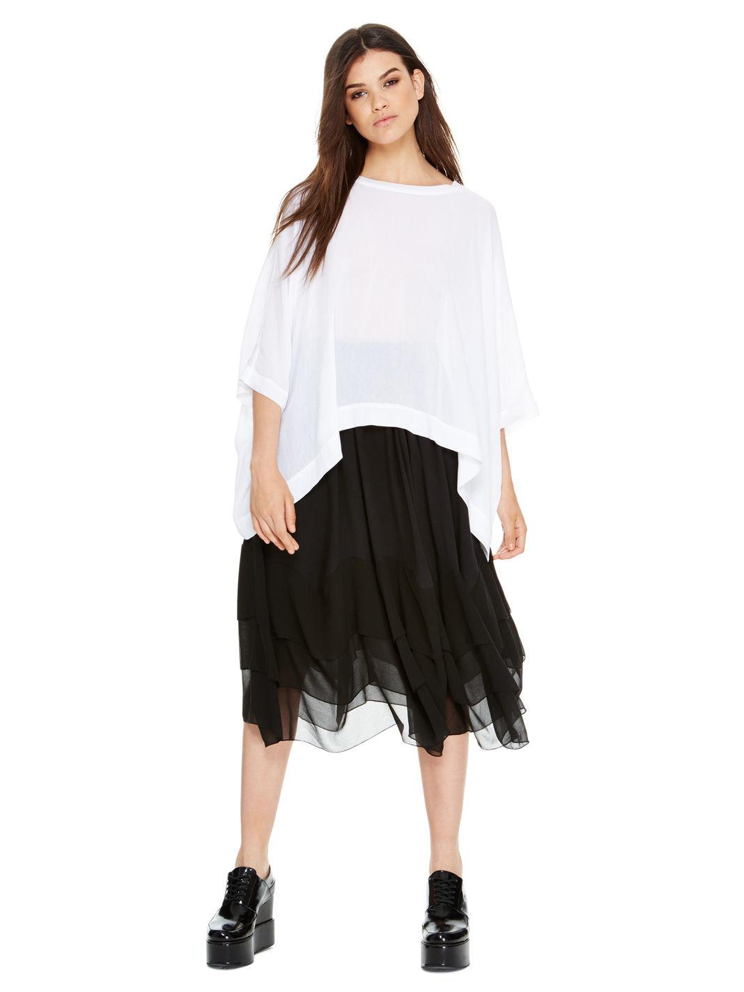 dkny midi skirt with tiered chiffon hem in black lyst