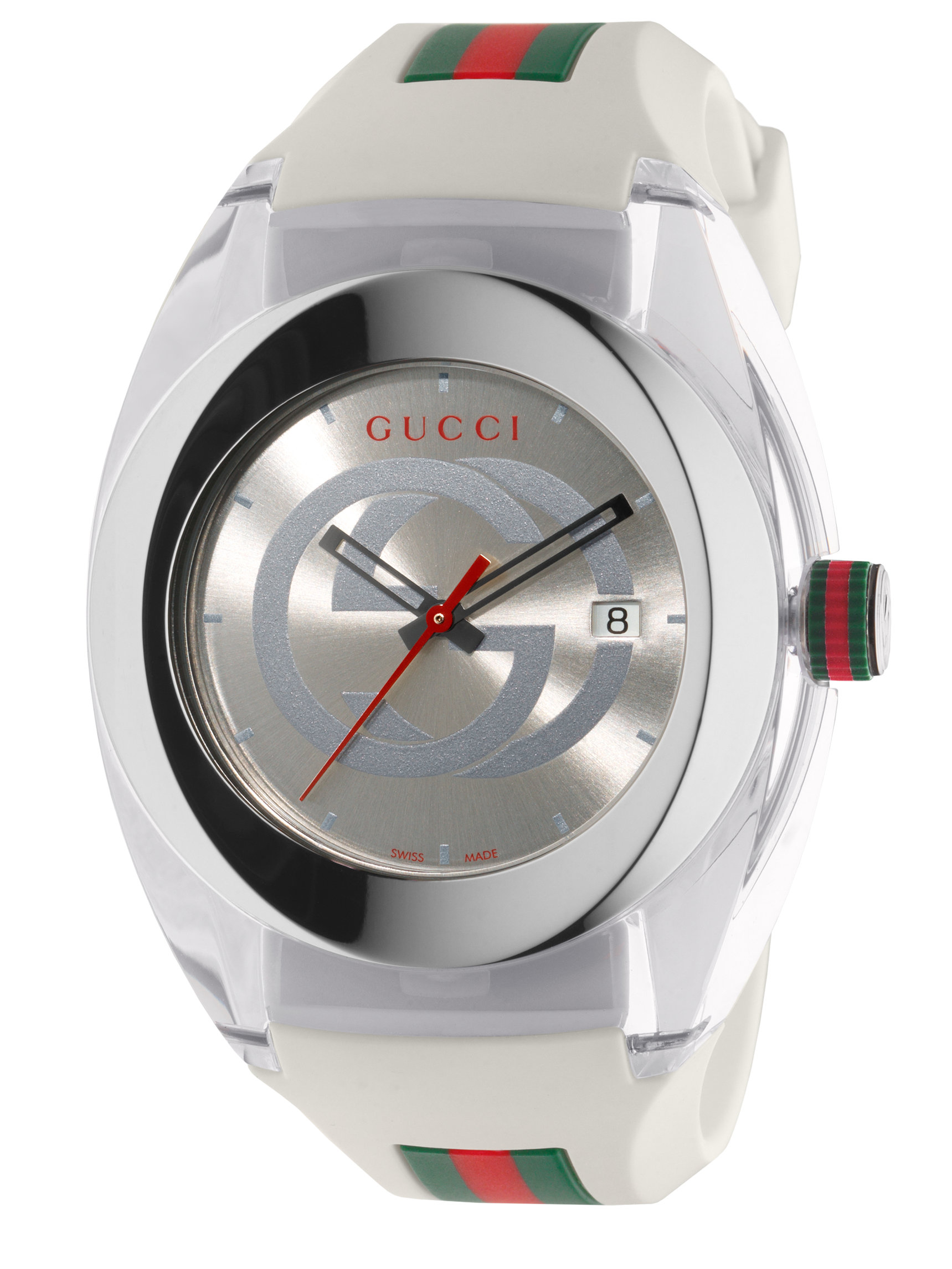 gucci sync stainless steel watch in white for men lyst