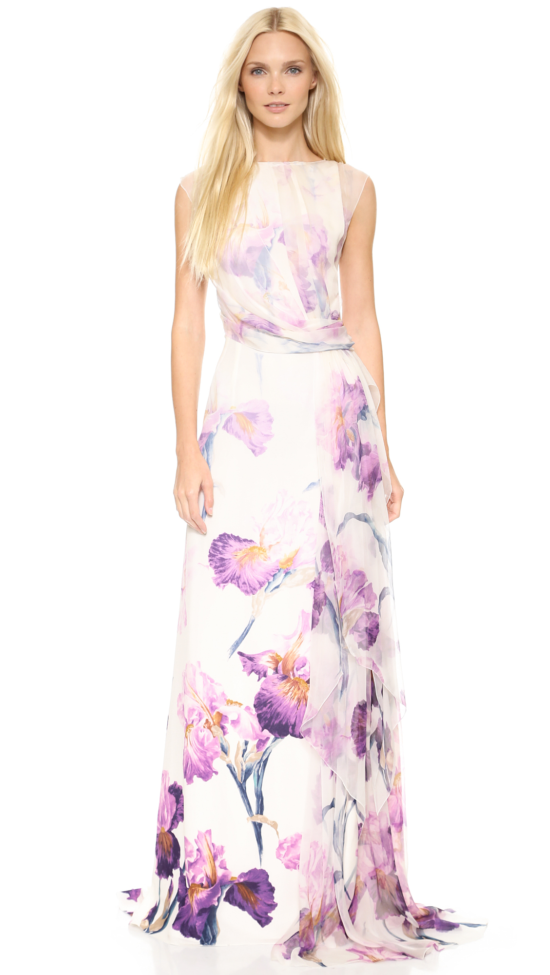 Nina Ricci Floral Gown Lilac Multi In Purple Lyst