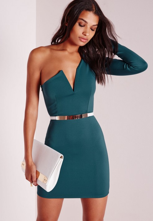 Lyst - Missguided V Plunge One Sleeve Bodycon Dress Teal in Blue a72951f29