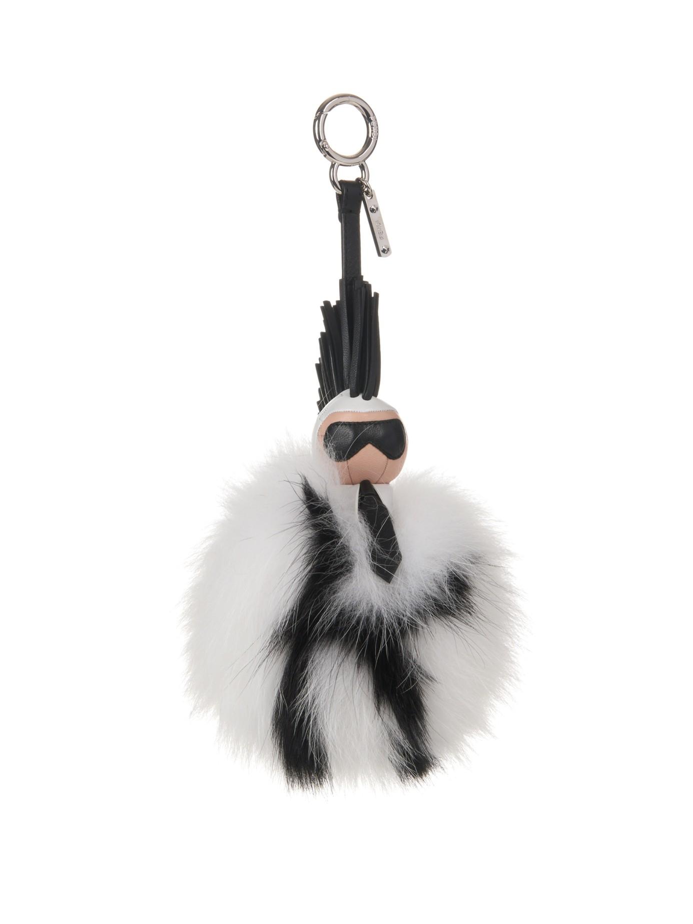 041e218d570d0 ... canada lyst fendi super karlito pompom fox fur bag charm in black ae4af  0e869