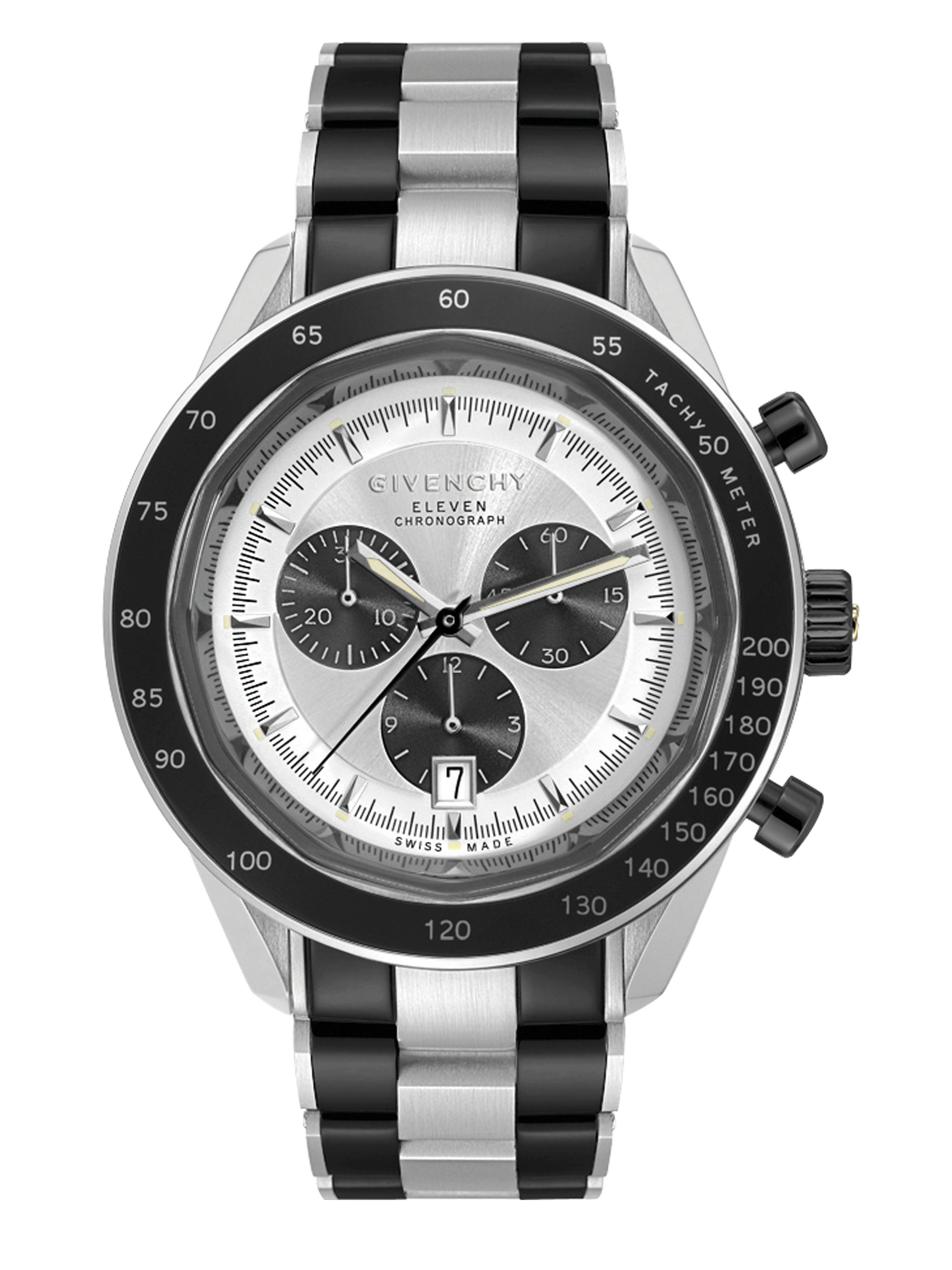 Givenchy eleven stainless steel chronograph watch in black for men lyst for Givenchy watches