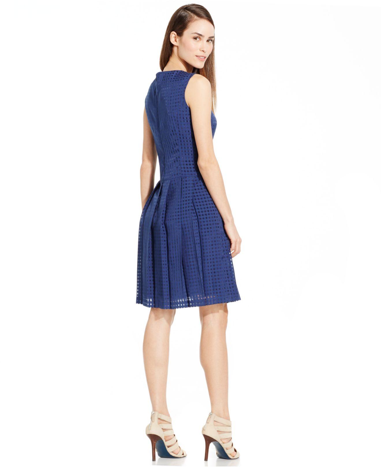 2df29fd3d5c73 Lyst - Nine West Burnout Check-print A-line Dress in Blue