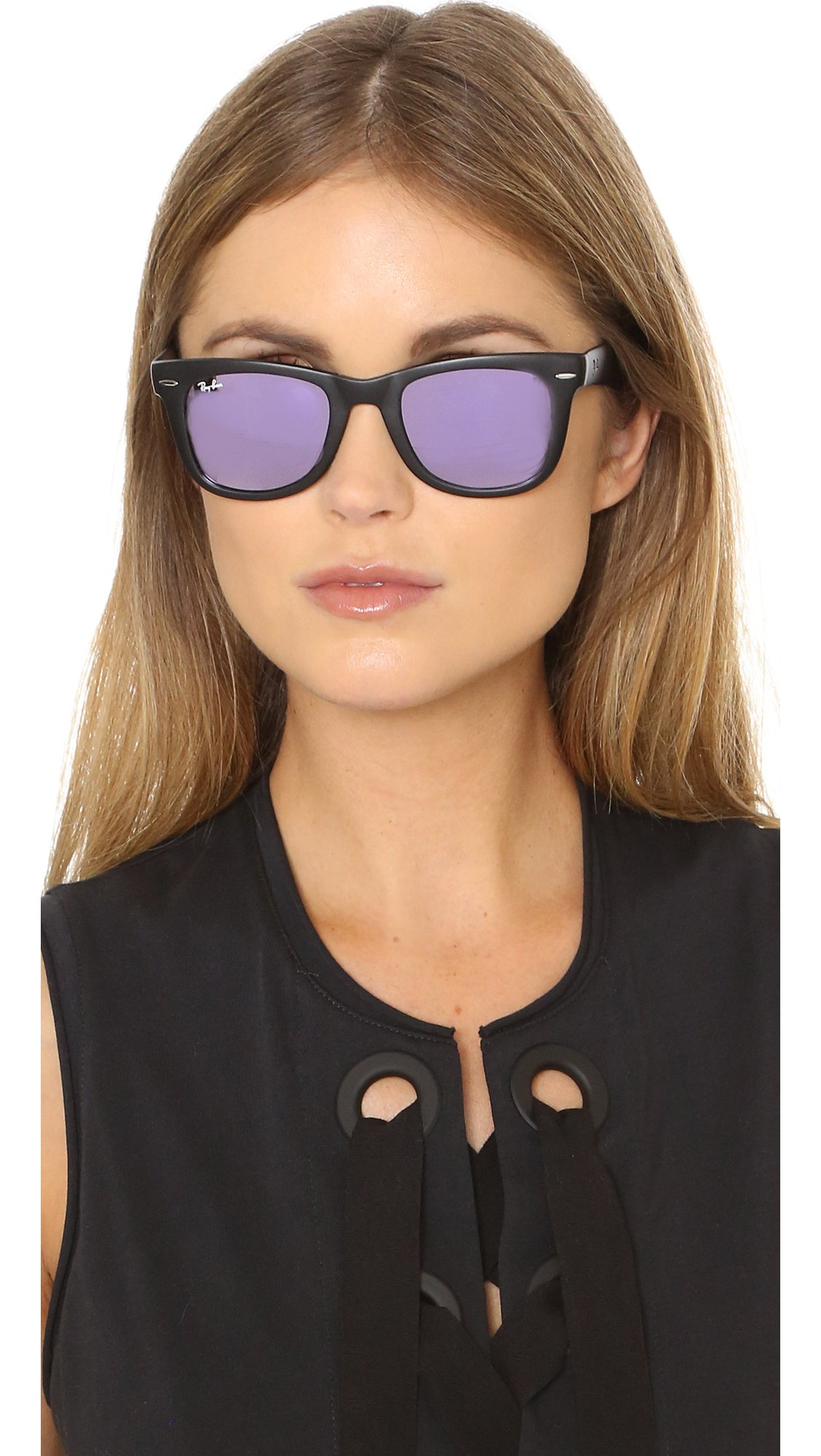 Ray Ban Mirrored Wayfarer Sunglasses In Black Lyst