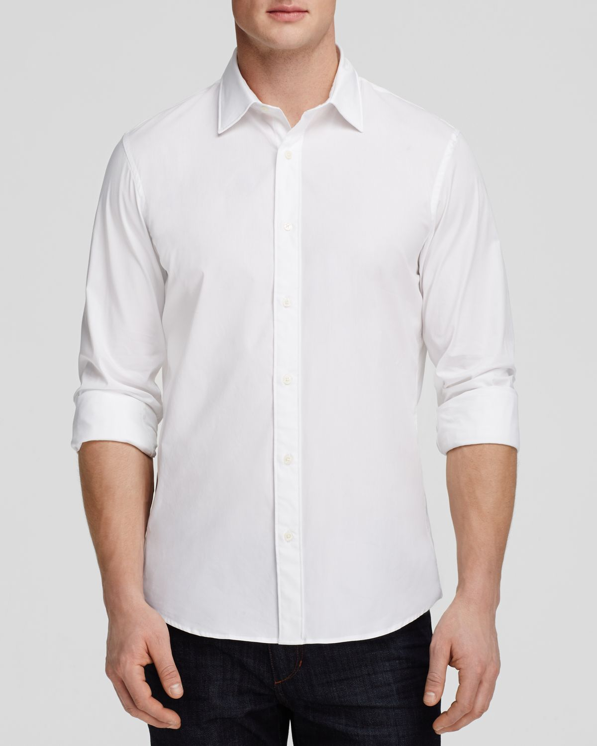 Michael kors stretch cotton button down shirt slim fit for Athletic fit button down shirts