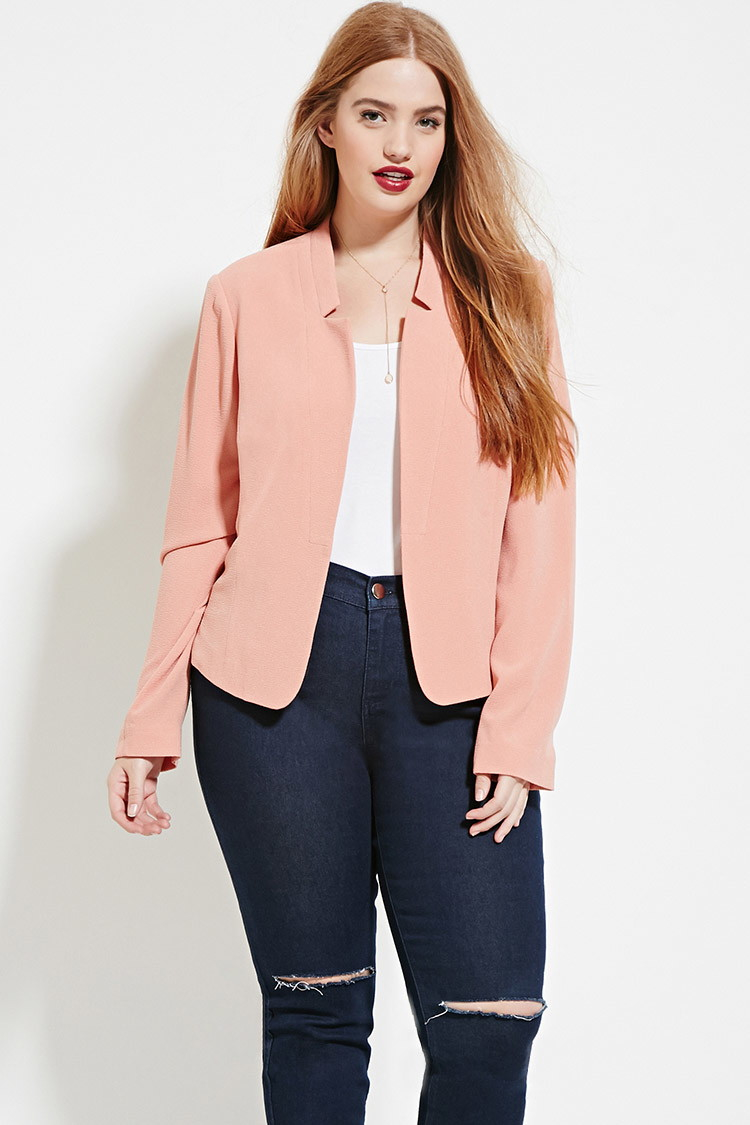 Plus Size Fashion Trends For Spring And Summer 2014: Forever 21 Plus Size Textured Blazer In Pink