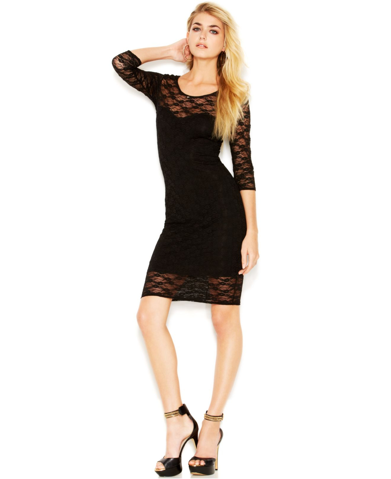Guess Three-Quarter-Sleeve Lace-Overlay Sheath Dress In
