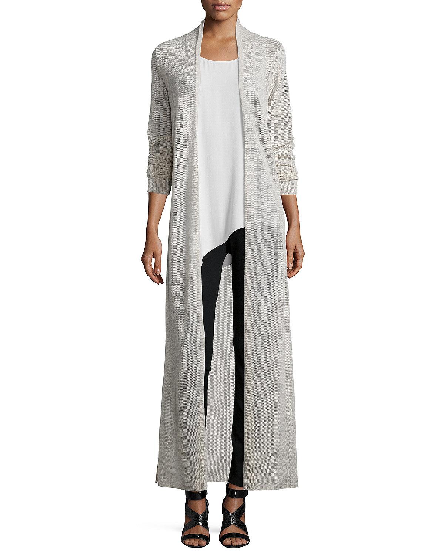 Eileen fisher Washable Merino Wool Maxi Cardigan in Gray | Lyst