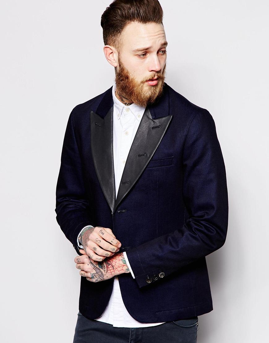 Lyst - Nudie jeans Nudie Denim Tuxedo Jacket Wilhelm Coated Black Lapel in Blue for Men