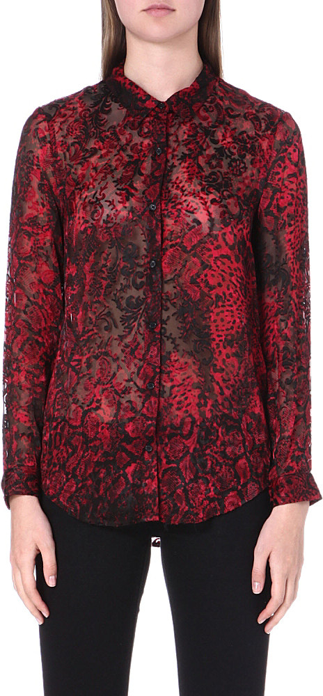 d0bf45c11c760d The Kooples Snake Print Silk Shirt in Red - Lyst