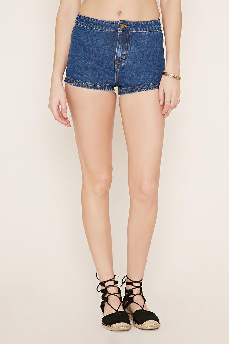 forever 21 denim shorts in blue denim lyst
