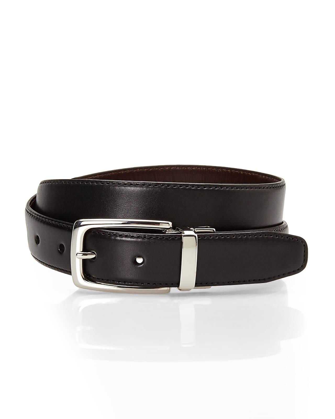 cole haan black brown reversible leather belt in