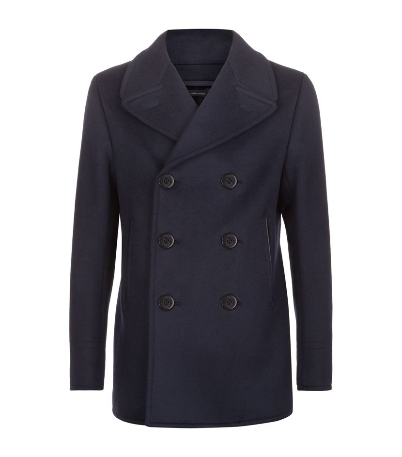 Tom ford Wool Pea Coat in Blue for Men | Lyst
