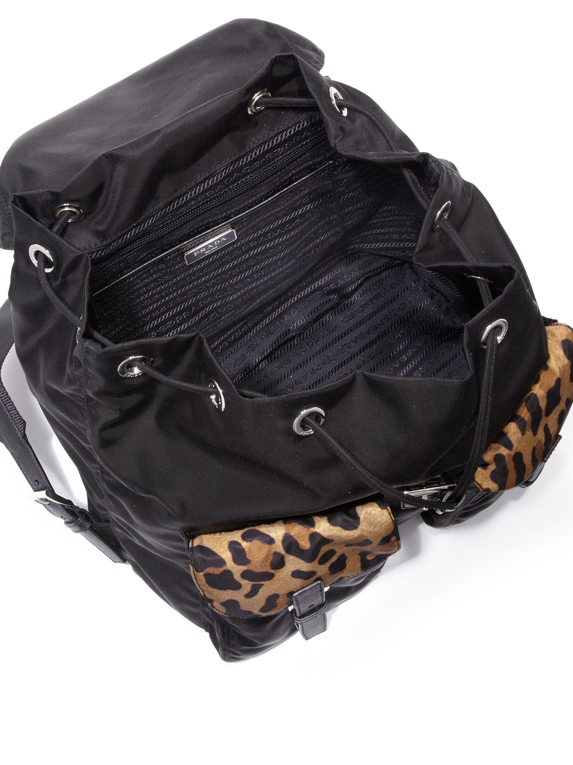 Prada Leopard-print Nylon Backpack in Black (black-tan) | Lyst