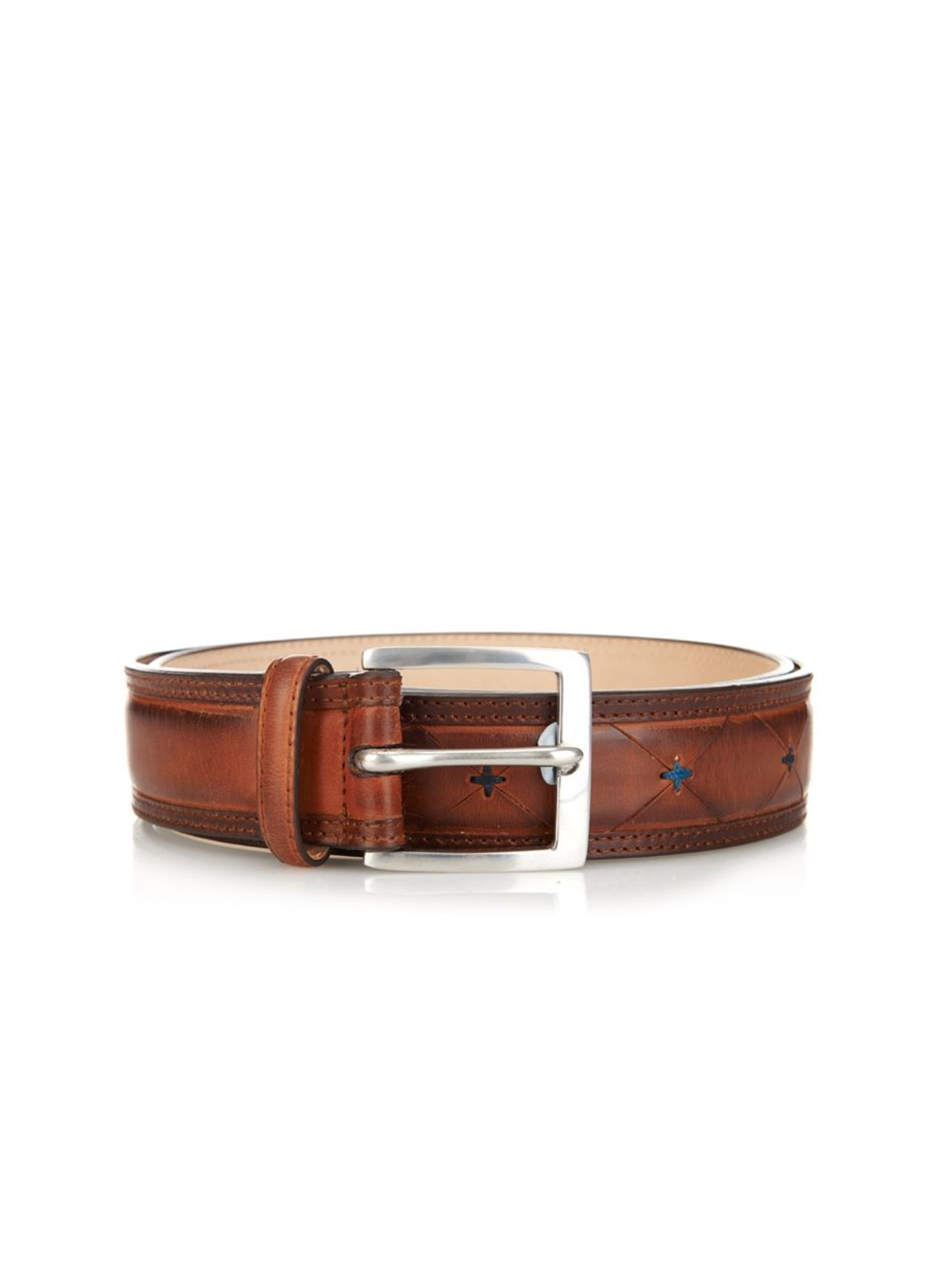 paul smith contrast stitch leather belt in brown for