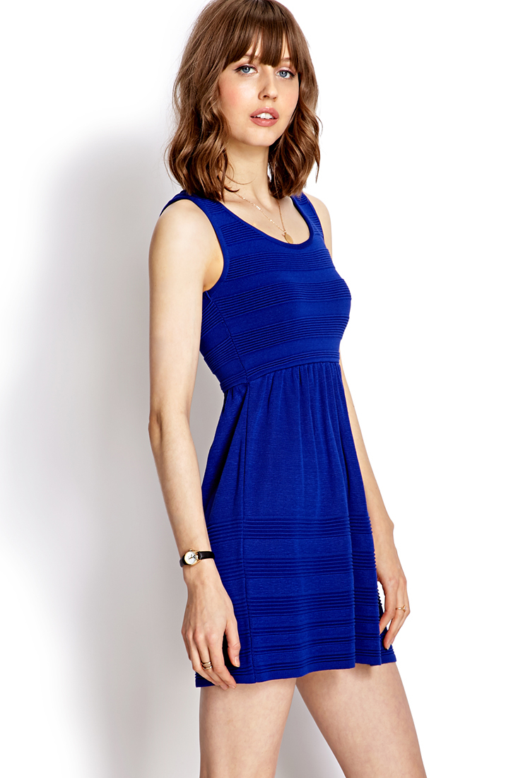 Lyst Forever 21 Fit Amp Flare Sweater Dress In Blue