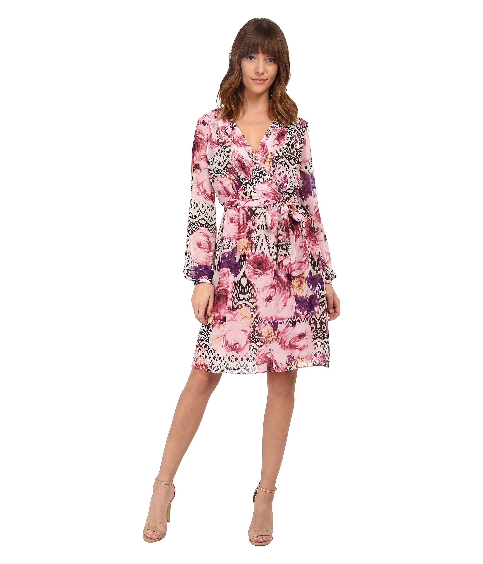 Jessica simpson Chiffon Long Sleeve Floral Dress in Pink - Lyst