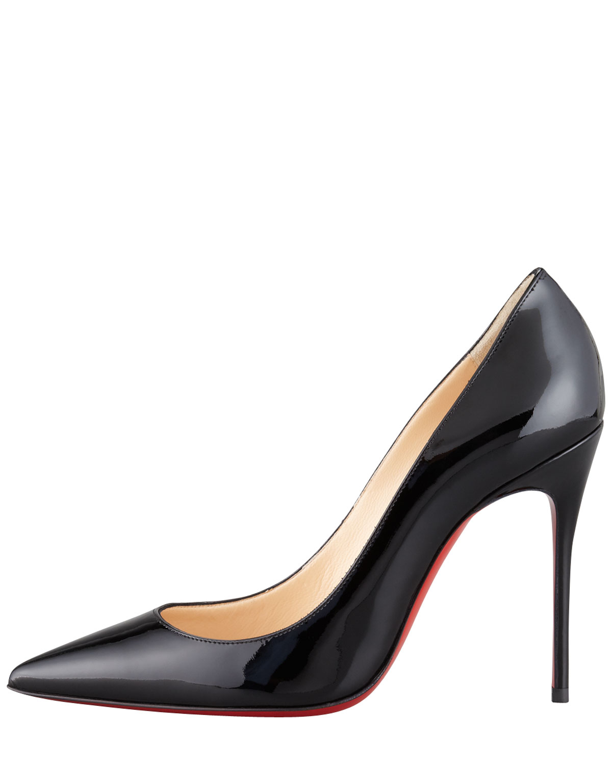 huge discount 11bd8 ee982 Christian Louboutin Black Decollete Patent Leather Stiletto Red Sole Pump