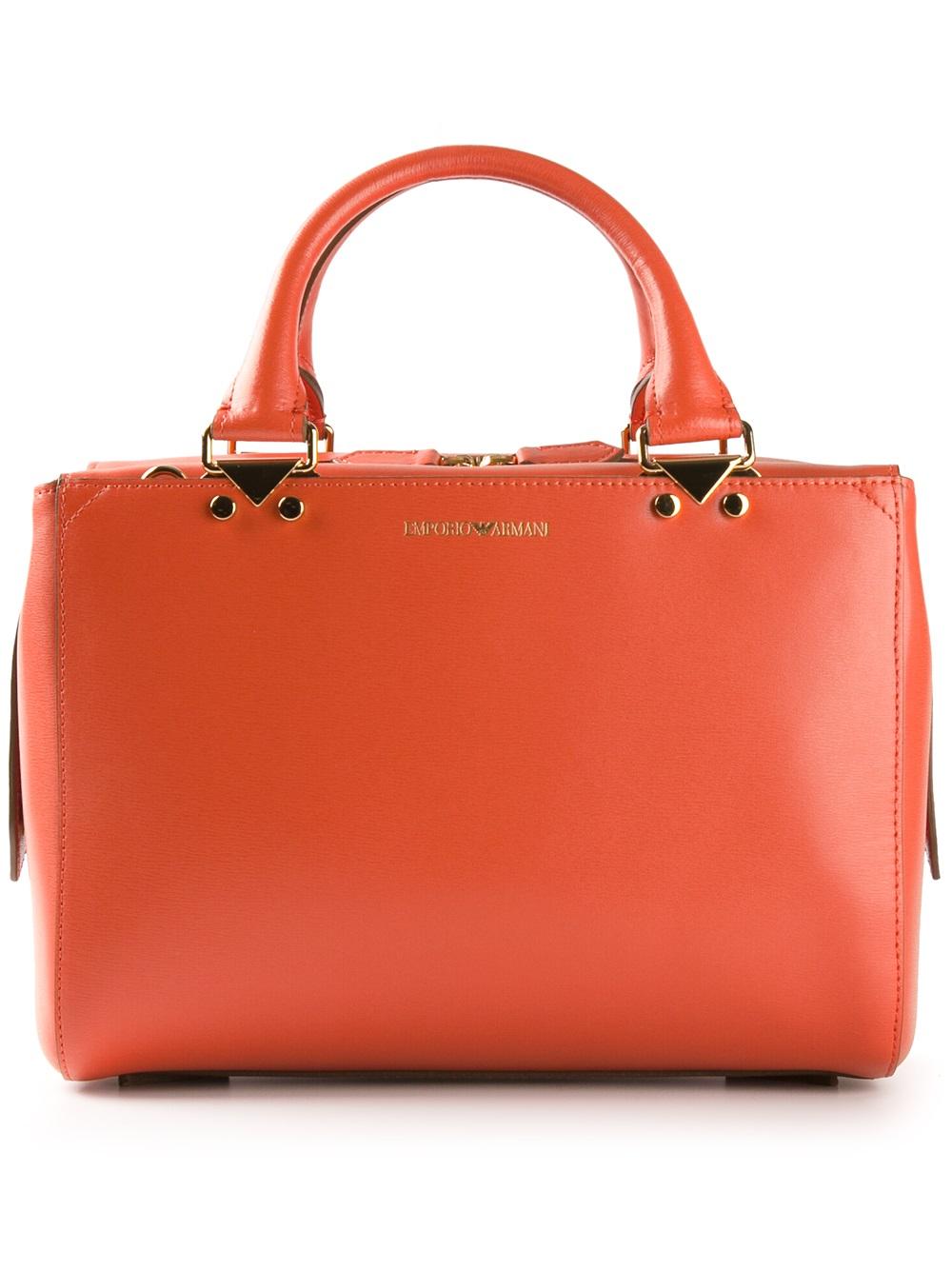 Emporio armani Classic Tote Bag in Orange | Lyst