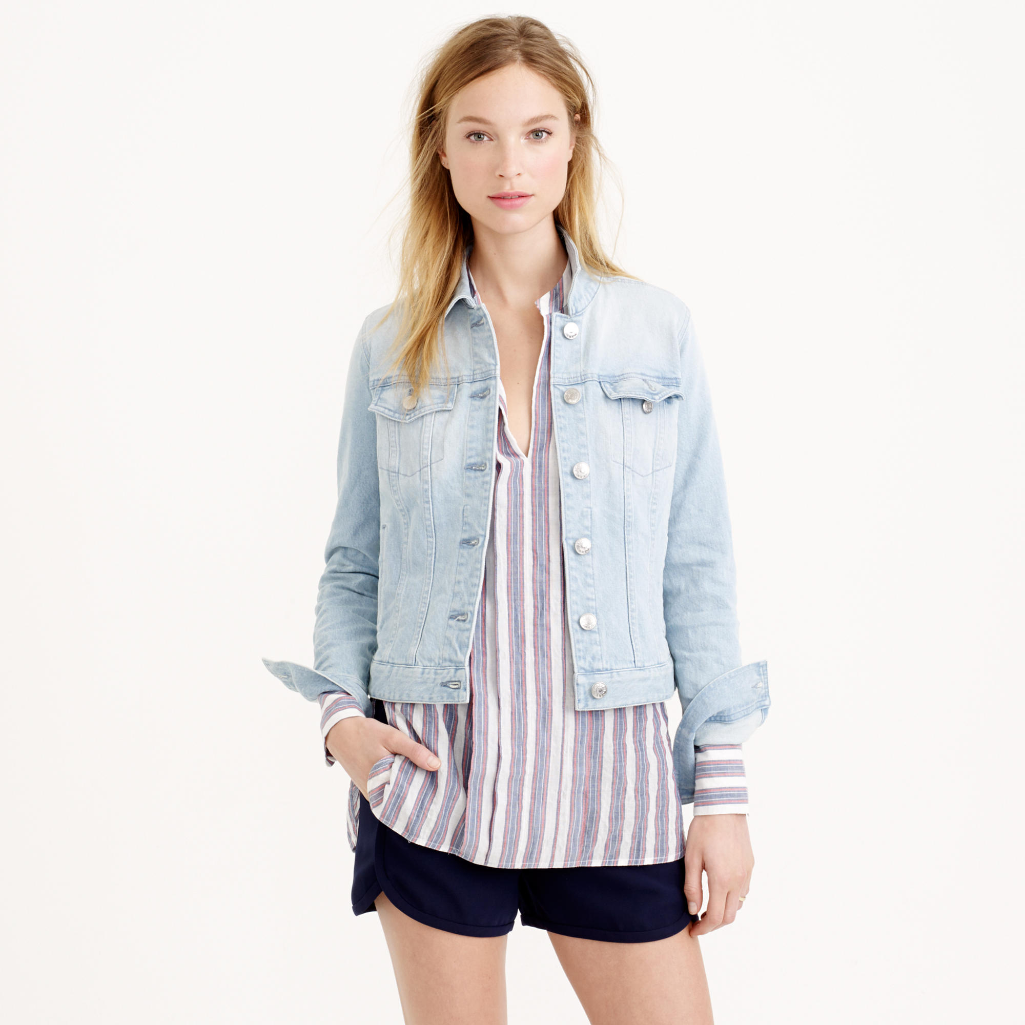Lyst - Jcrew Stretch Denim Jacket In Pale Indigo Wash In Blue-7749