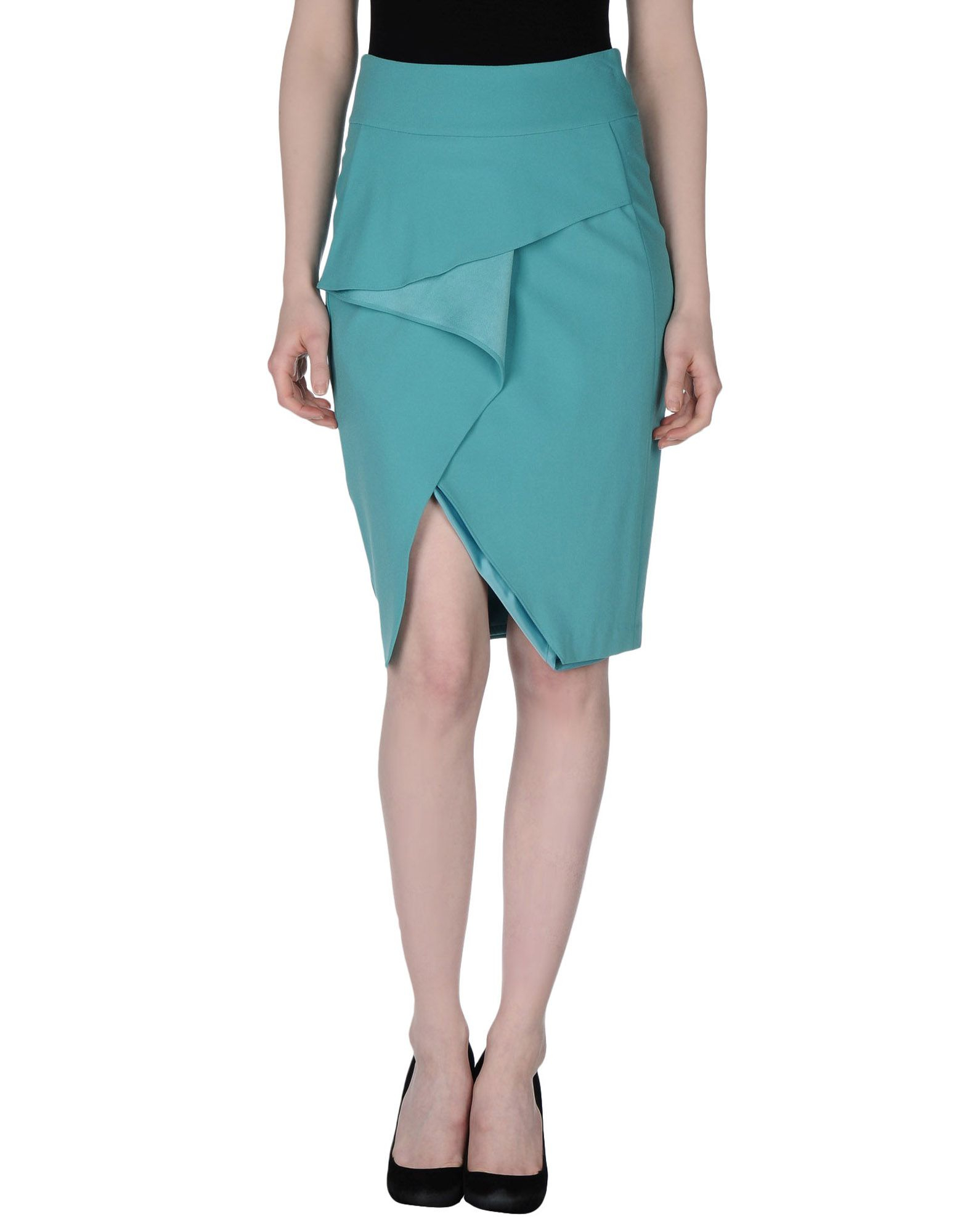 guess knee length skirt in green lyst