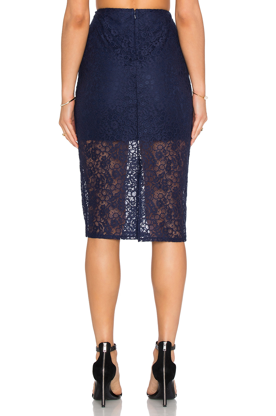 bcbgeneration lace pencil skirt in blue lyst