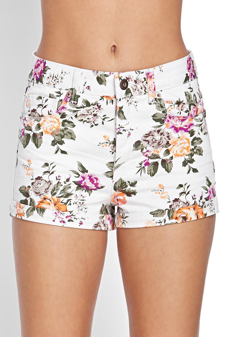 Forever 21 Floral Denim Shorts in Natural | Lyst