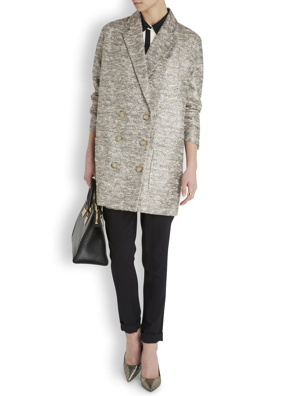 Marc by marc jacobs Silver And Cream Metallic Tweed Coat in ...