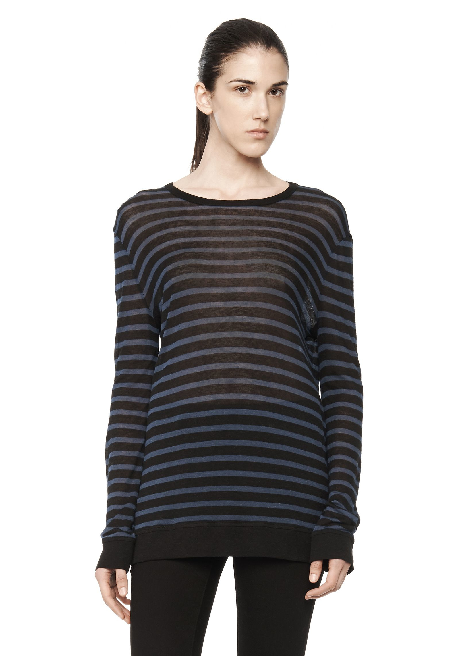 lyst t by alexander wang stripe linen long sleeve tee in. Black Bedroom Furniture Sets. Home Design Ideas