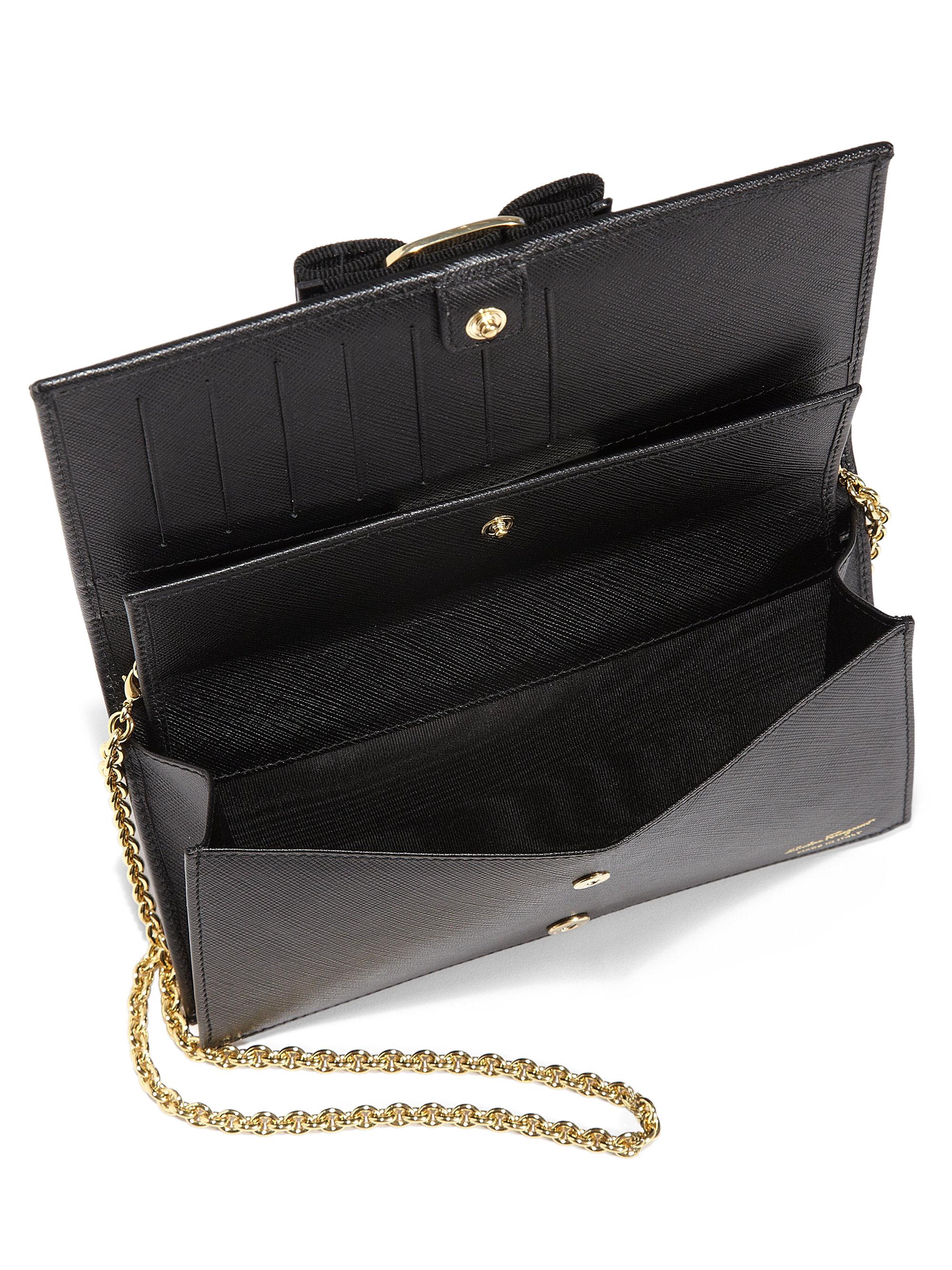 Lyst Ferragamo Miss Vara Bow Chain Wallet In Black
