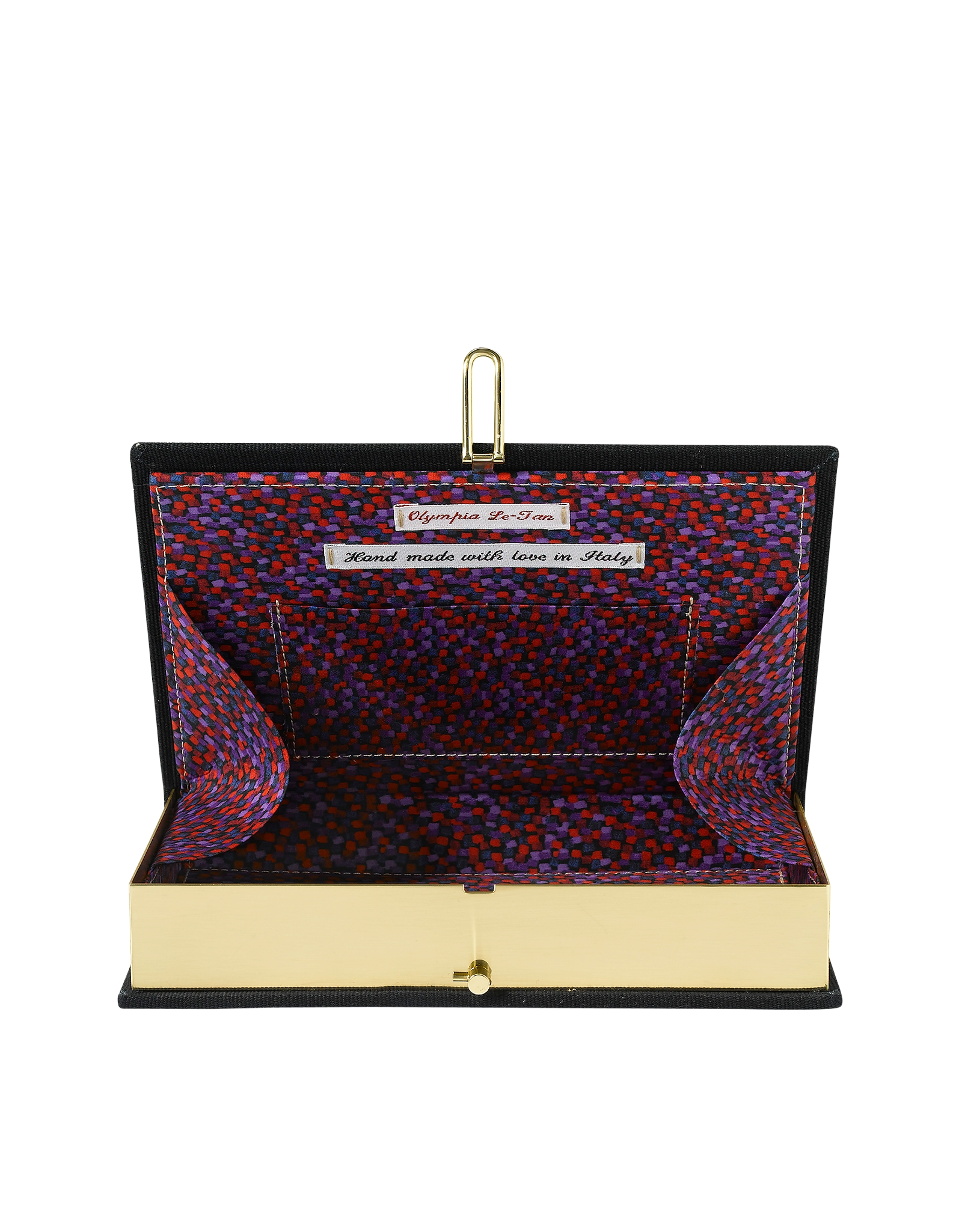 Olympia le tan Thirst For Love Cotton Book Clutch in Black
