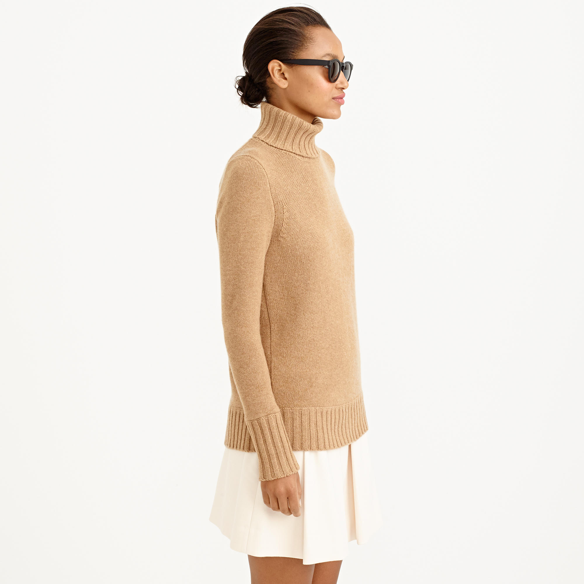 J.crew Collection Cashmere Chunky Turtleneck Sweater in Brown | Lyst
