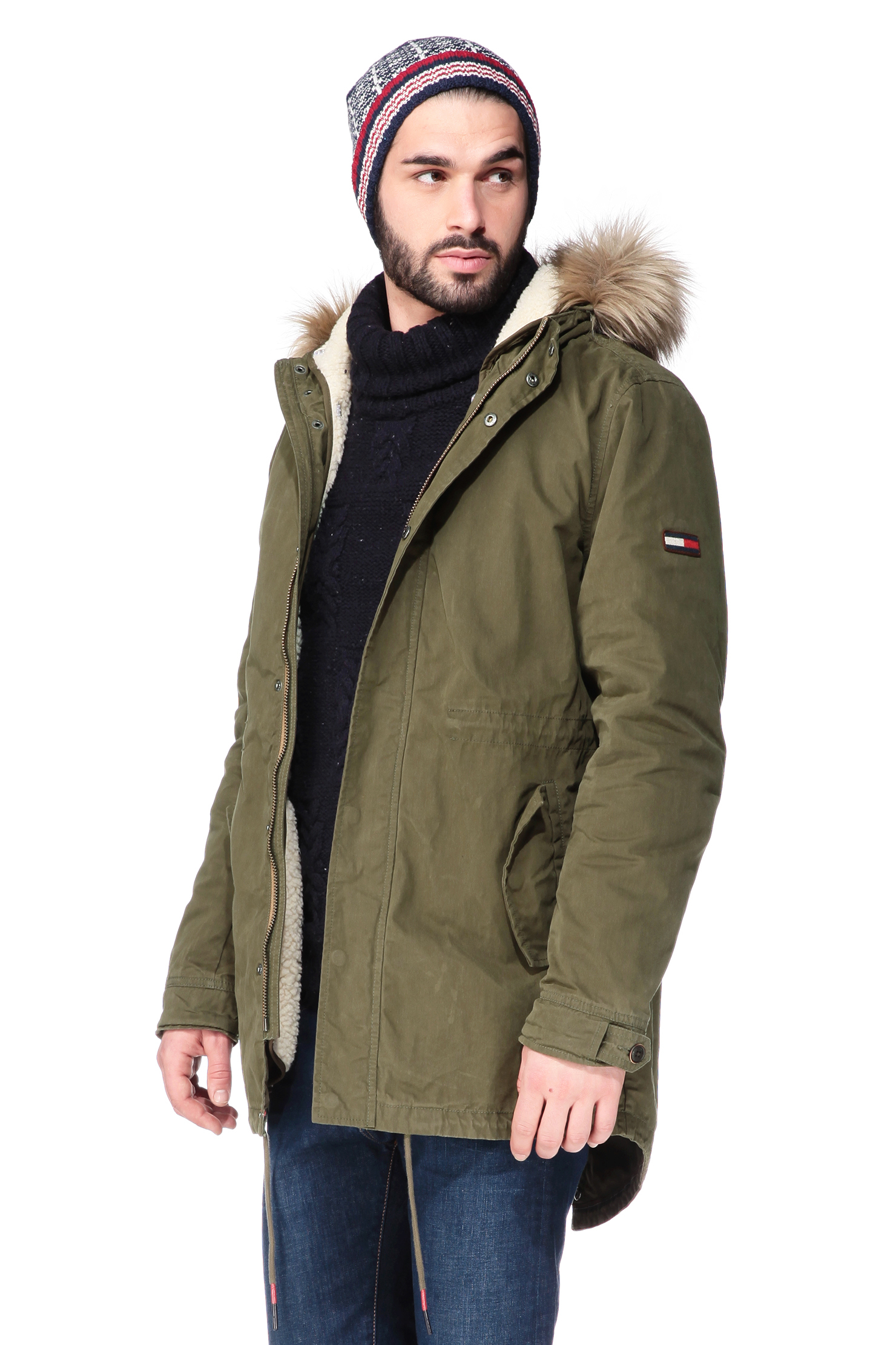 hilfiger denim parka in green for men lyst