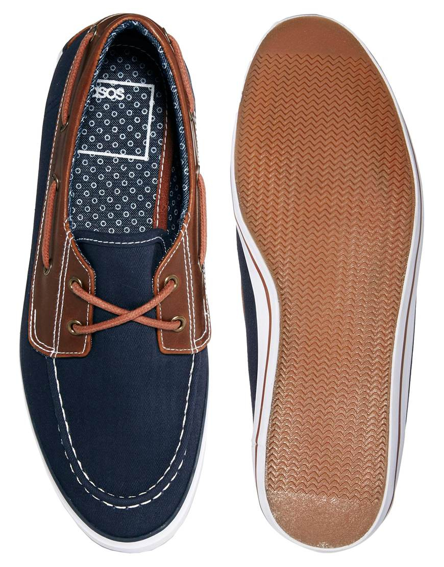 asos boat shoes in canvas in blue for lyst