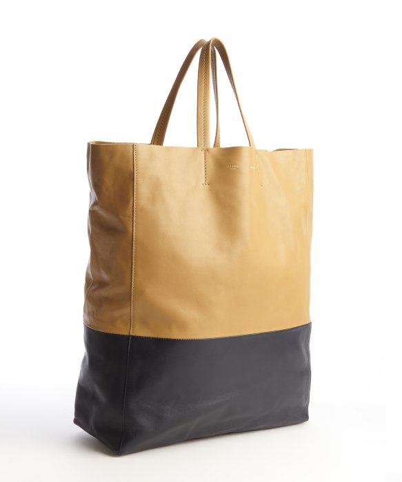C¨¦line Camel and Blue Lambskin Twotone Tote Bag in Yellow (camel ...