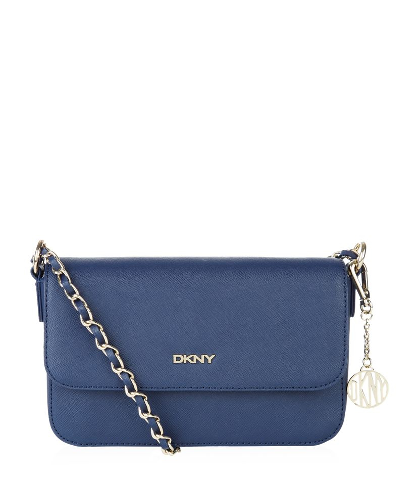 DKNY Small Saffiano Flap Cross Body Bag in Blue
