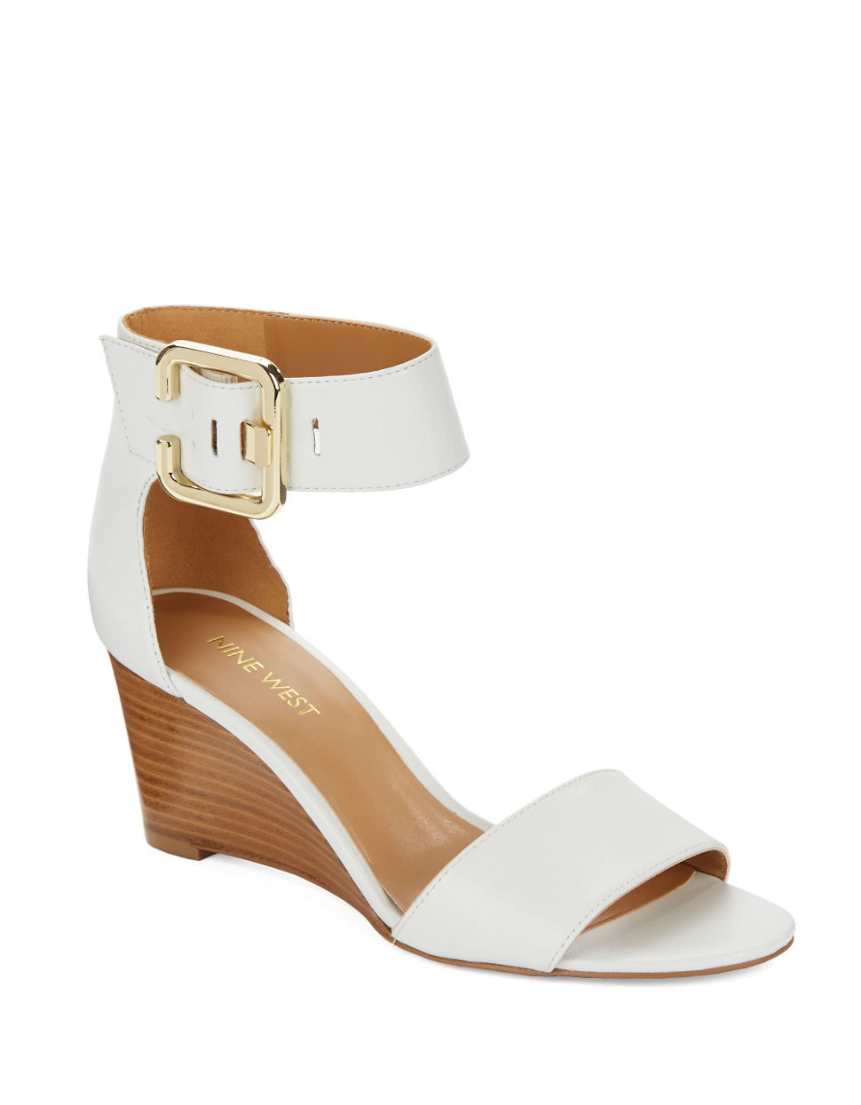 nine west narcissus leather wedge sandals in white lyst