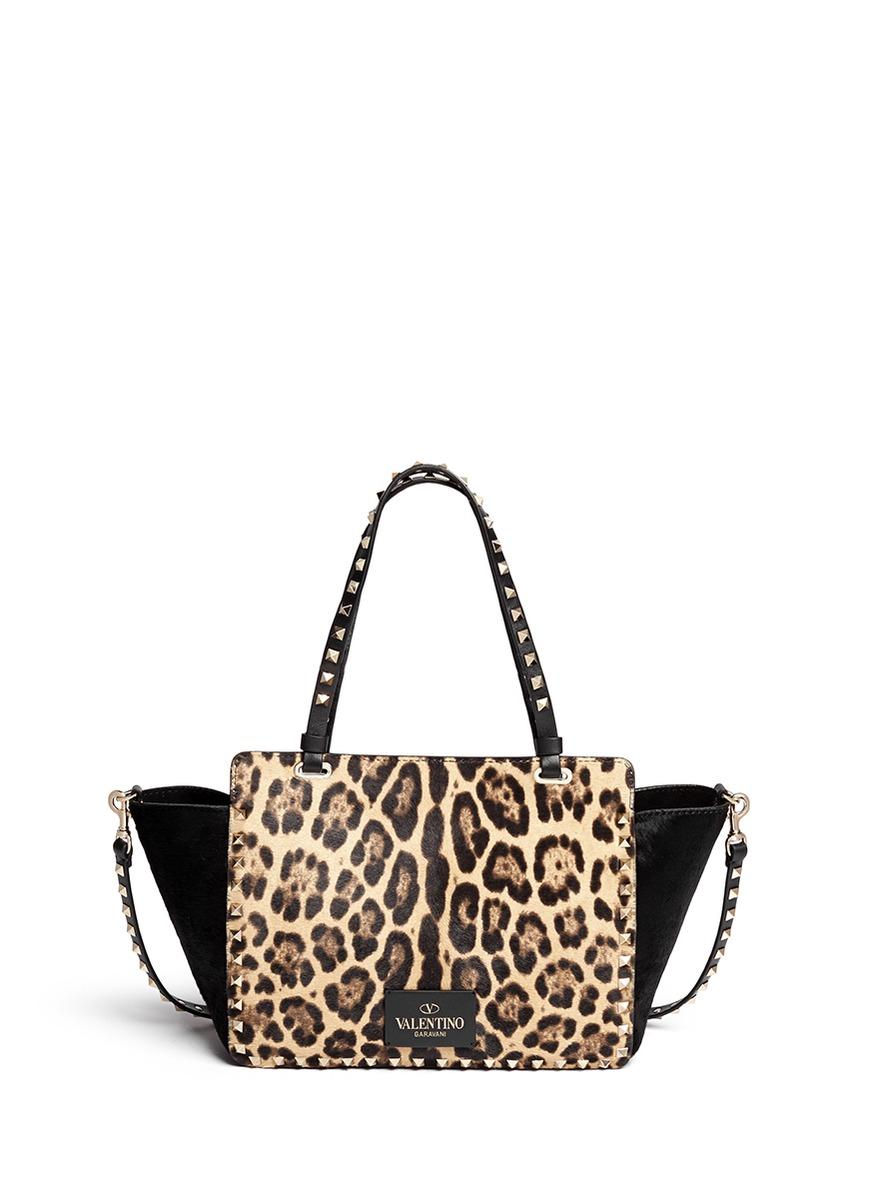 Valentino 'rockstud' Small Leopard Print Calf Hair Tote