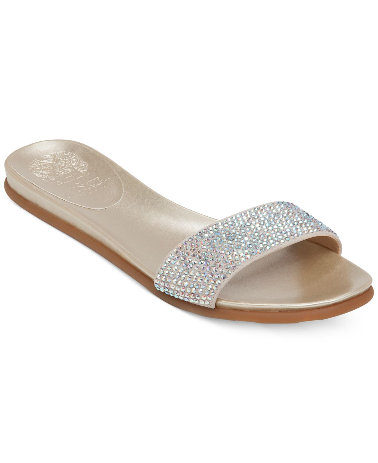 Vince Camuto Endilla Flat Slide Sandals In Metallic Lyst