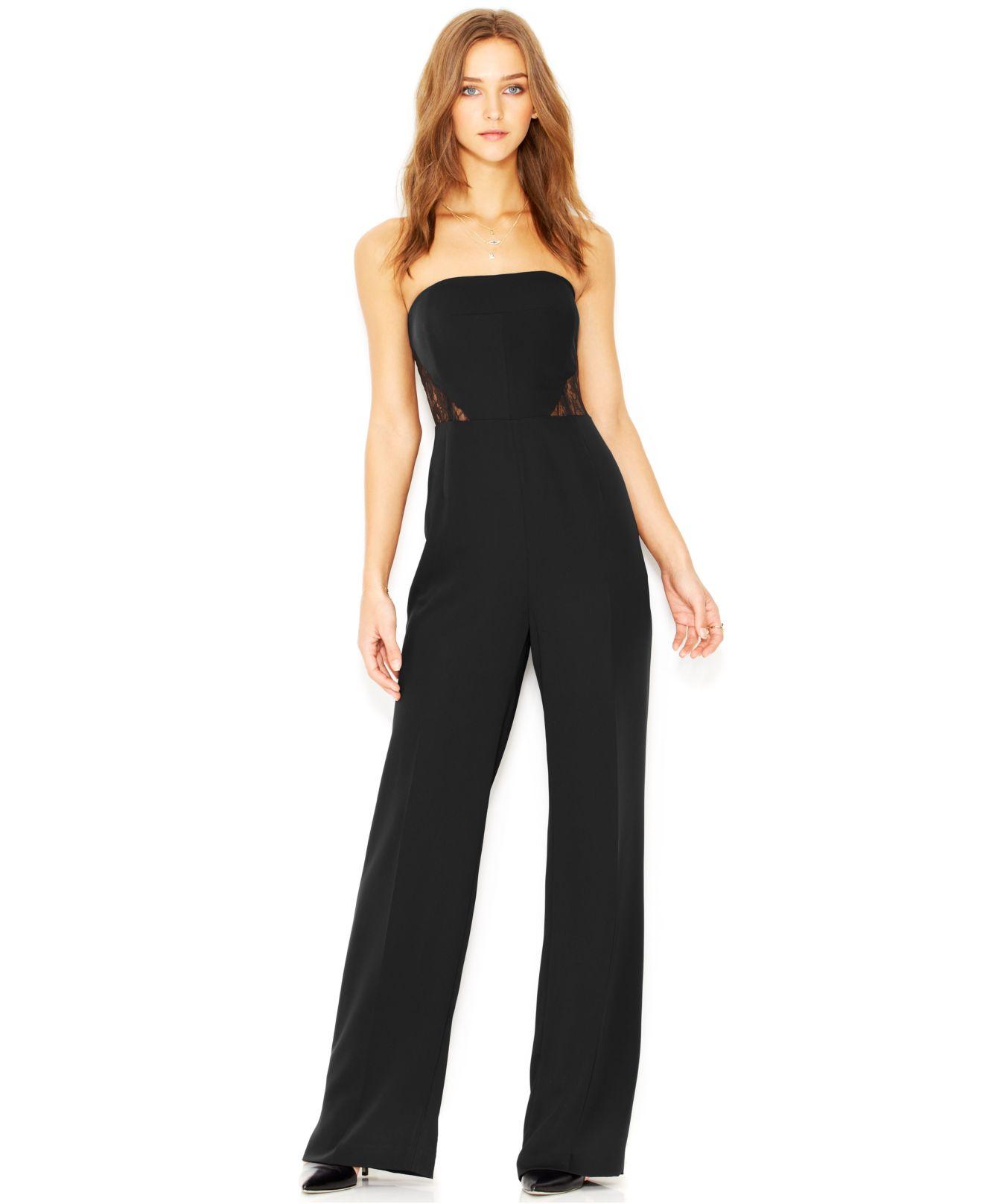 940ac79e3142 Lyst - RACHEL Rachel Roy Lace-Inset Wide-Leg Jumpsuit in Black