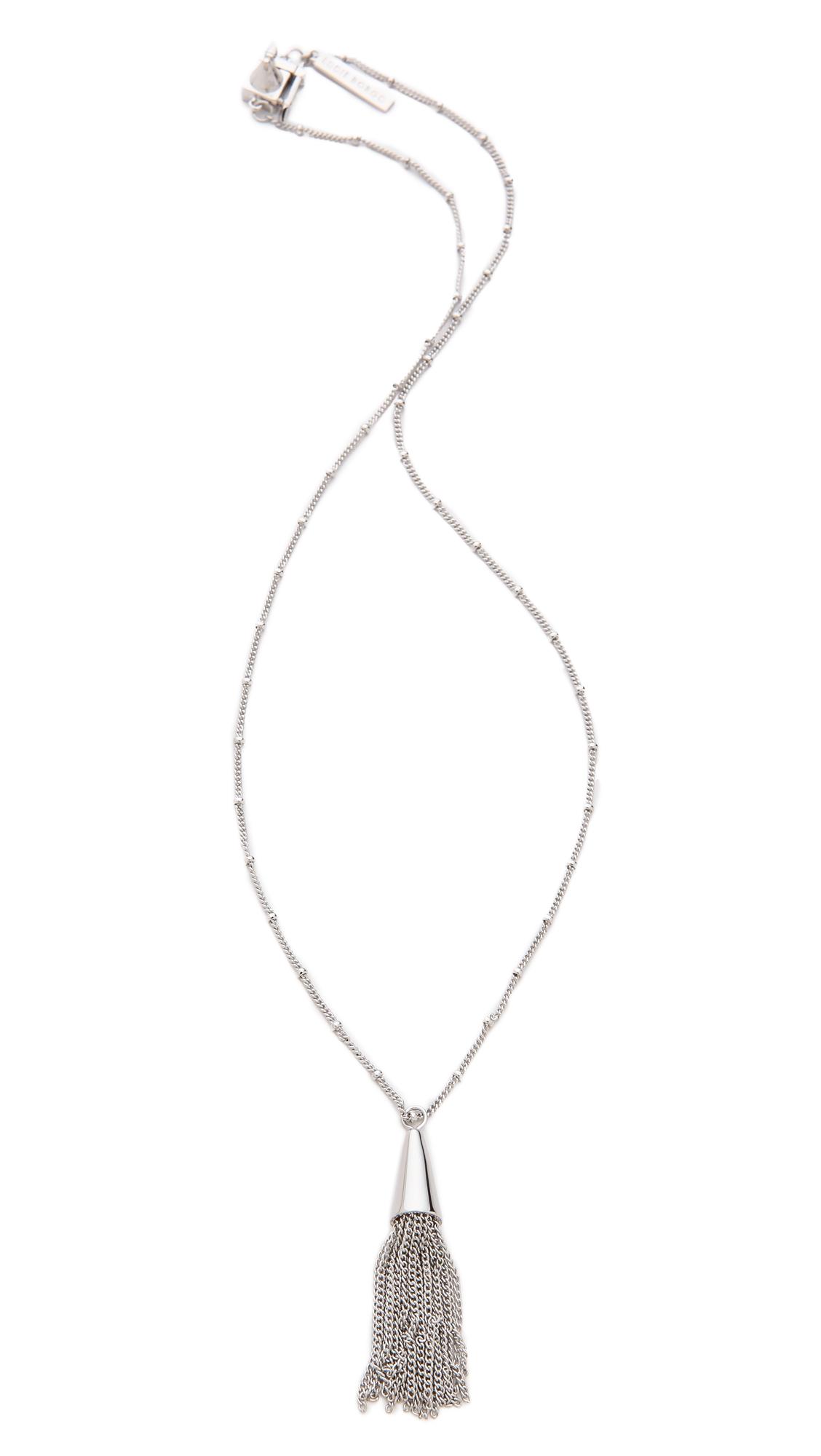 Eddie Borgo Small Chain Tassel Pendant Necklace - Silver in Metallic