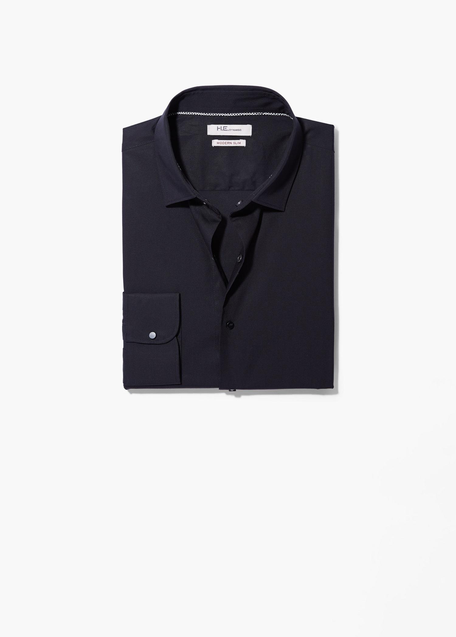 Lyst Mango Modern Slim Fit Cotton Shirt In Black For Men