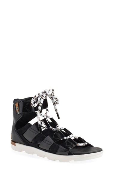 Sorel Torpeda Lace Up Sandal In Black Lyst