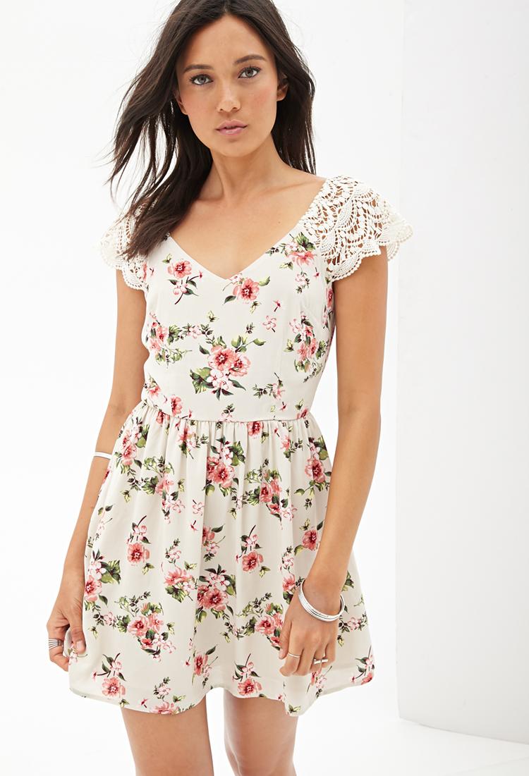 lyst forever 21 crochet floral smock dress