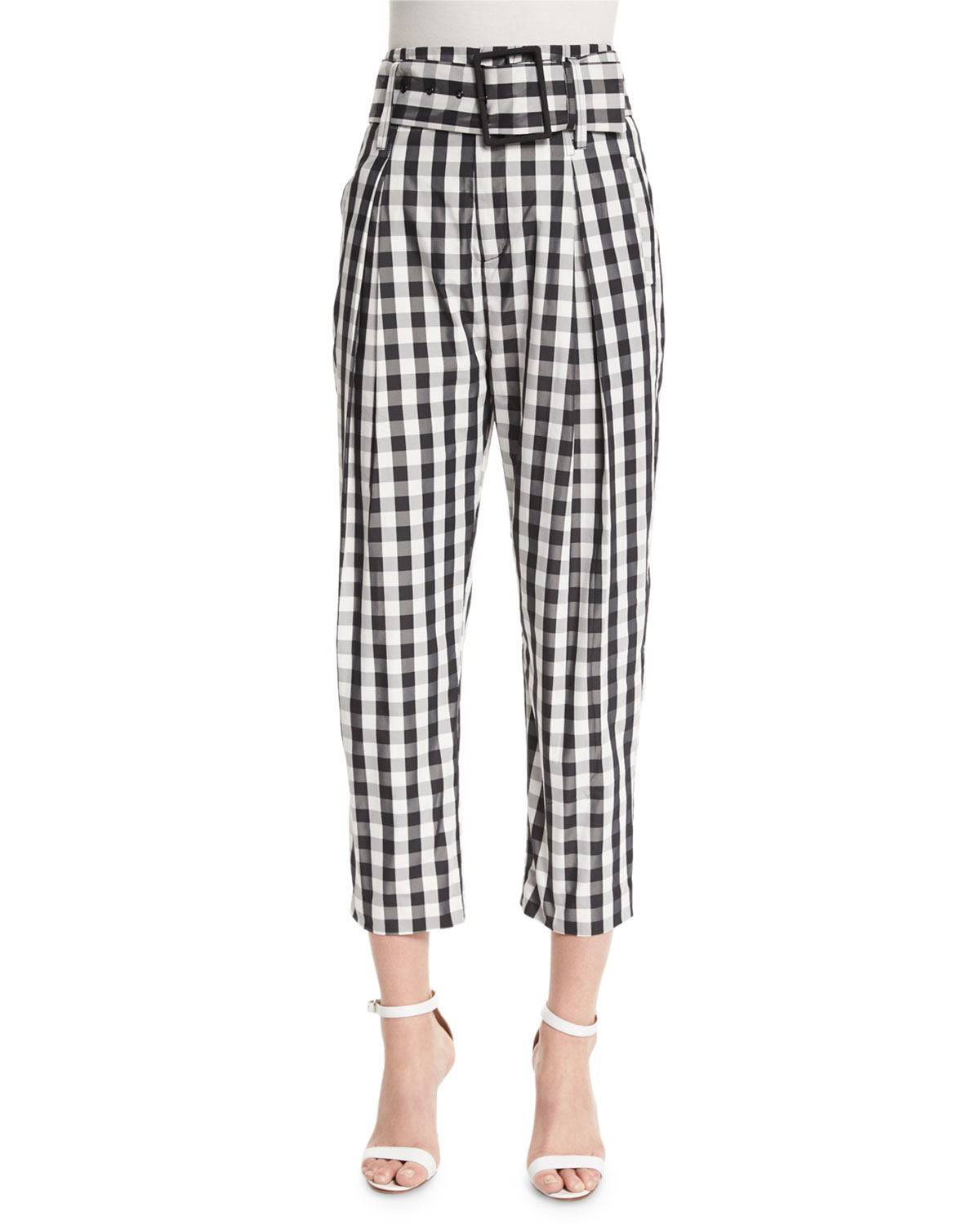 4e462d031ad92 Kendall + Kylie High-waist Belted Cropped Trousers in Black - Lyst