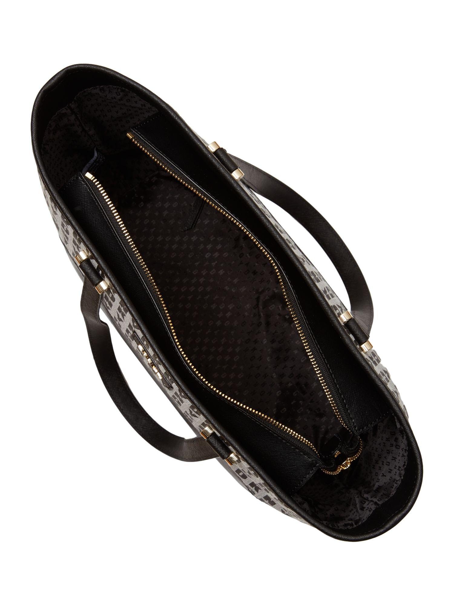 DKNY Saffiano White Tote Bag in Black